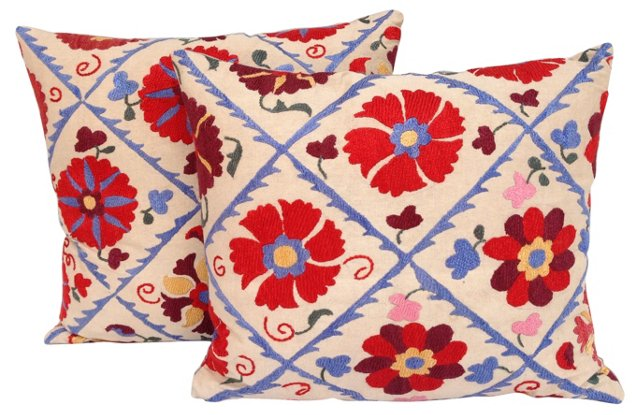 Suzani Floral Lattice Pillows, Pair
