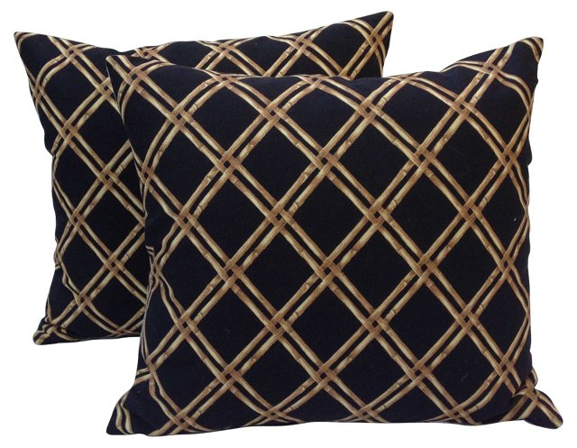 Bamboo Lattice   Pillows,  Pair