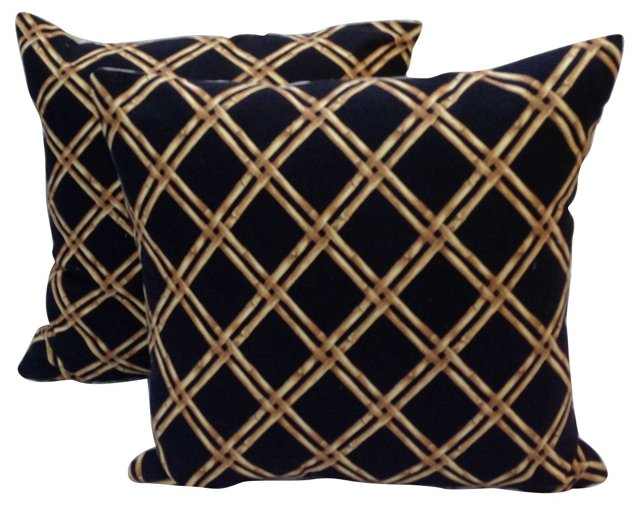 Pillows w/ Bamboo Lattice Pattern, Pair