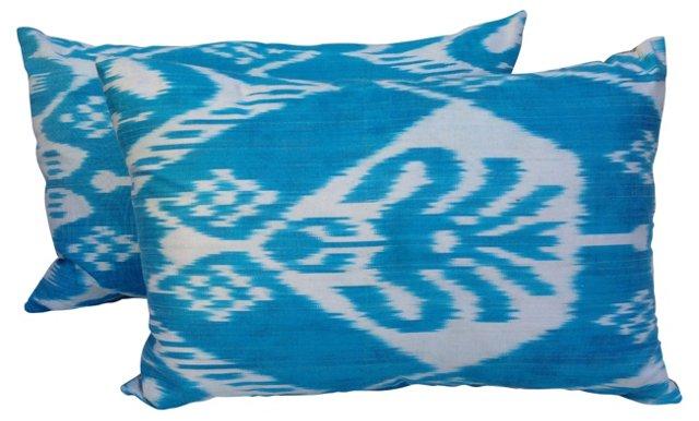 Silk Turquoise Ikat Pillows, Pair