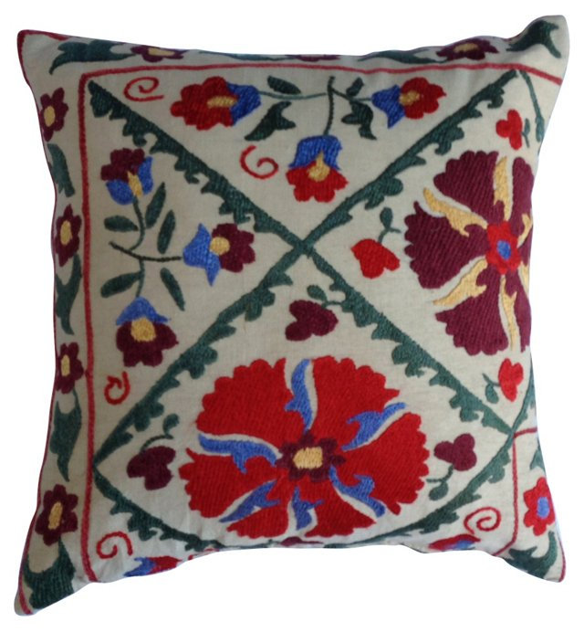 Embroidered  Suzani  Fragment  Pillow