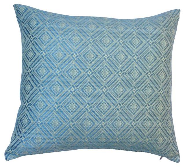 Blue & White Woven Quilt   Pillow