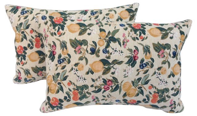 French Fruit & Floral  Pillows, Pair