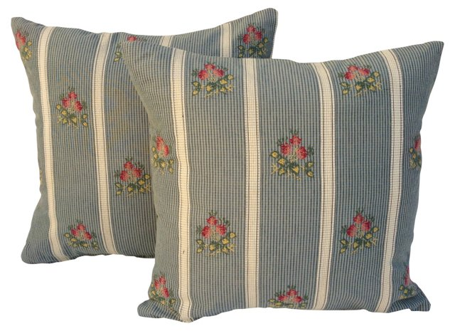 French Roses Pillows, Pair