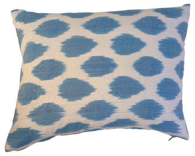 Turquoise Ikat Silk Dot Pillow