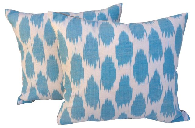 Turquoise Polka Dot Ikat Pillows, Pair