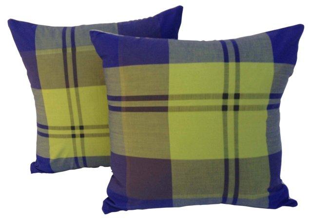Plaid Silk Pillows, Pair