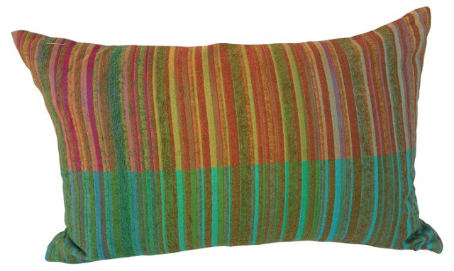 Pillow w/  1960s Color Blocked  Silk