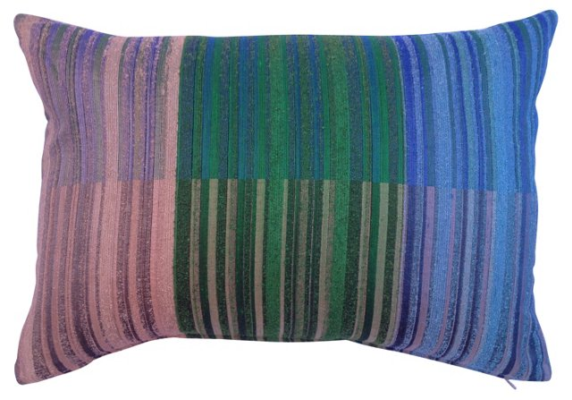 Color Blocked Striped   Raw Silk Pillow
