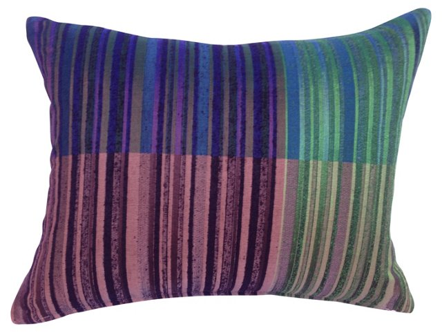 Raw Silk Color Blocked  Pillow
