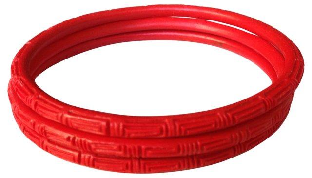 Red Cinnabar Chinese Bangles, S/3