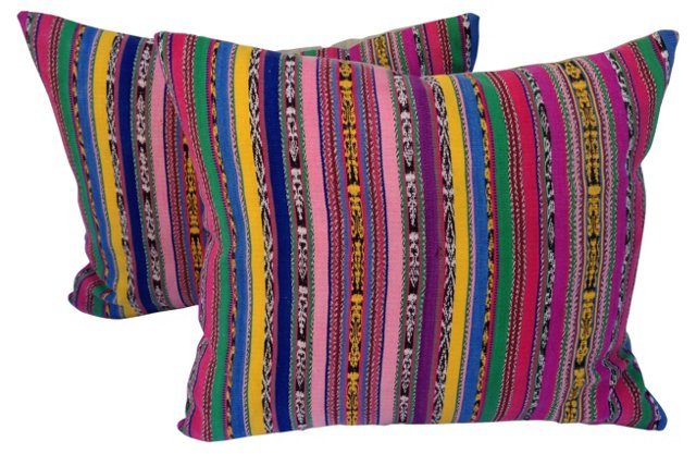 Colorful Ikat Striped Pillows, Pair