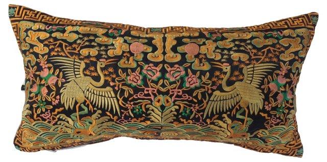 Embroidered Silk Boudoir Pillow
