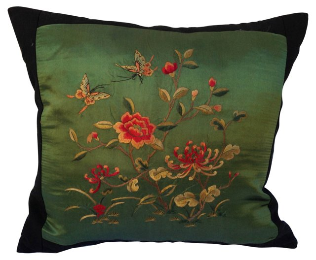 Embroidered Butterfly Silk   Pillow