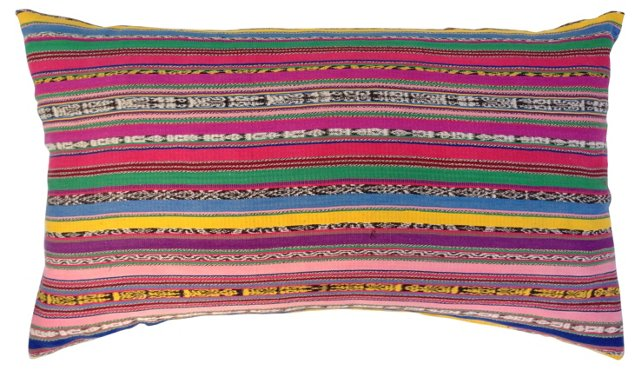 Colorful Striped Ikat          Pillow