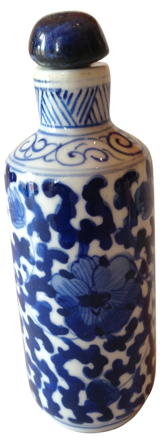 Hand-Painted Blue & White Bottle