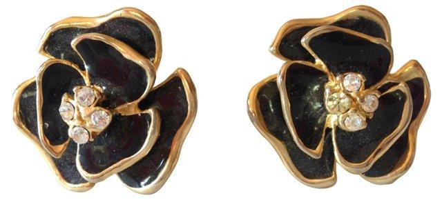 Enamel Flower Earrings w/  Rhinestones