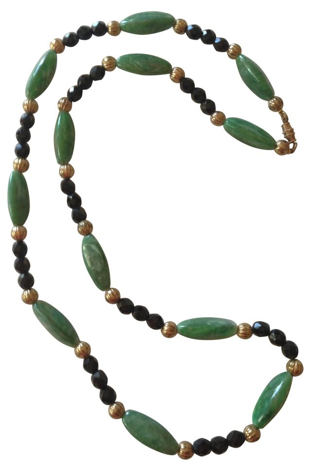 French Art Deco Jet Bead Necklace