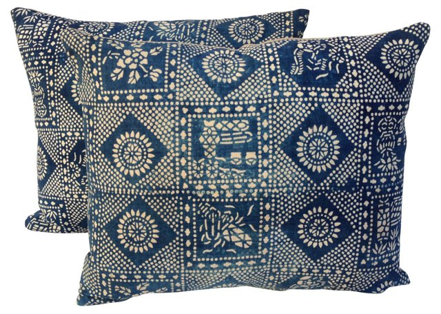 Batik Blue & White Pillows, Pair