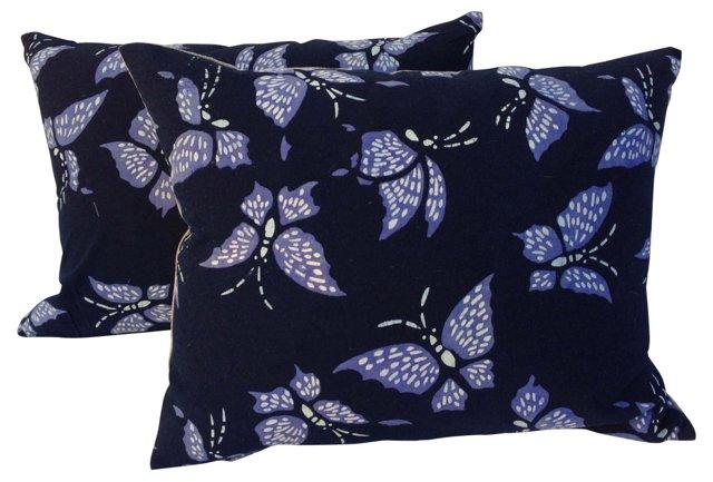 Batik   Butterfly Pillows, Pair