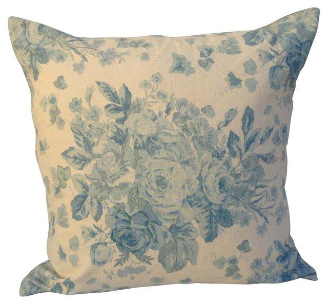 Blue & White  Floral Bouquet Pillow