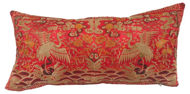 Silk Embroidered  Boudoir   Pillow