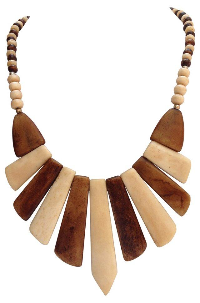 1970s 2-Tone Bone Bib Necklace
