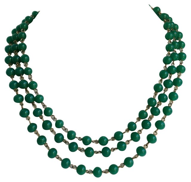 1950s Jade Triple-Strand Necklace