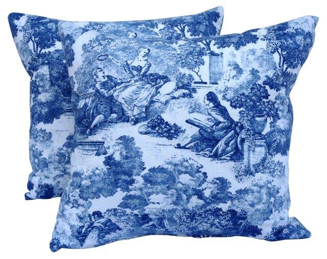 Blue &  White Toile Pillows, Pair