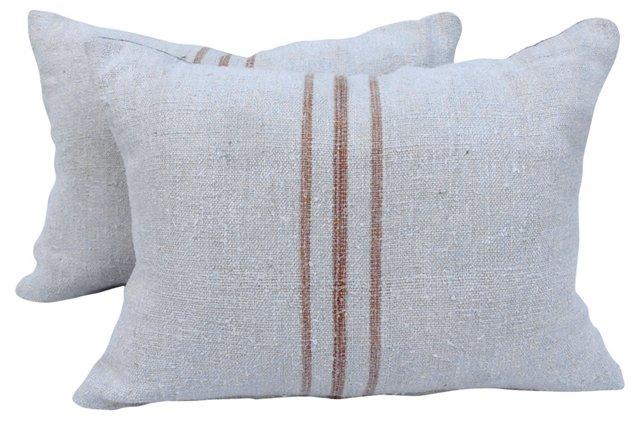 English Grain Sack  Pillows,   Pair