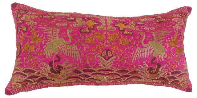 Silk Asian Pink Boudoir  Pillow