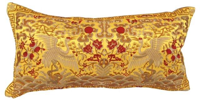 Silk Asian  Crane  Boudoir    Pillow