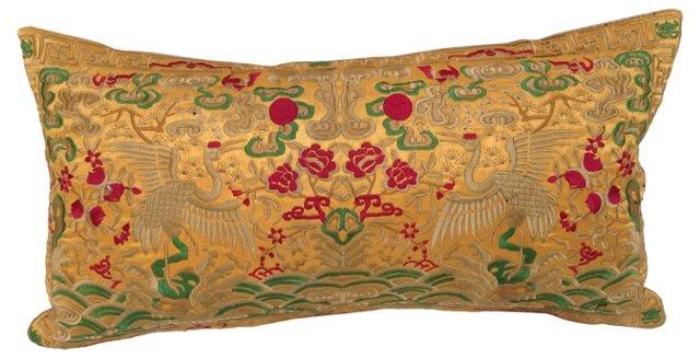 Embroidered  Silk  Crane Boudoir  Pillow