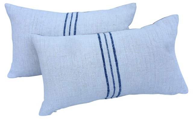 English Grain Sack   Pillows,   Pair