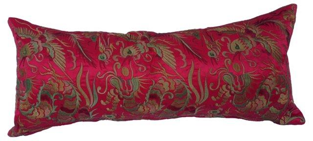 Embroidered Silk Dragon Boudoir  Pillow
