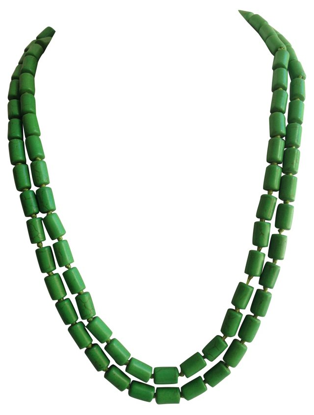 Green Turquoise Howlite Bead   Necklace