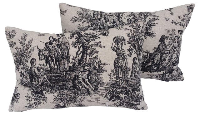 French Countryside Toile Pillows, Pair
