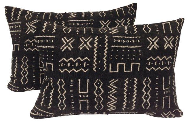 Malawi Mud Cloth Pillows, Pair
