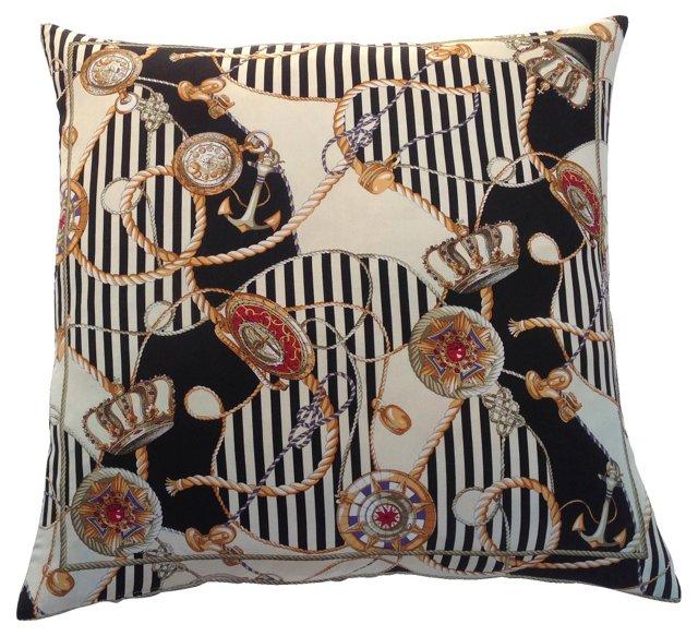 1980s Silk Scarf Crown Pillow