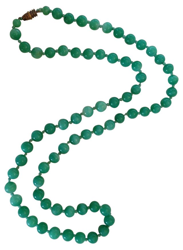 1930s Jade Bead Necklace