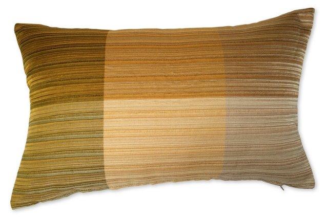 Pillow w/ Yellow 1960s Raw  Silk