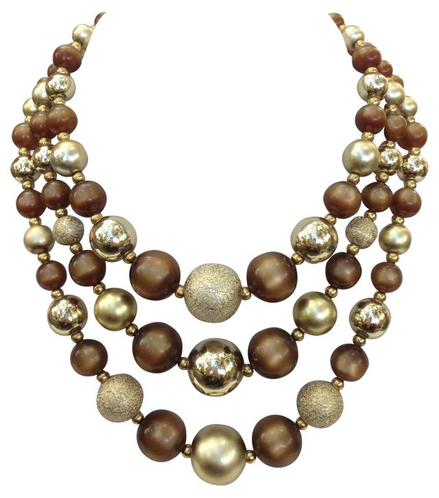 Metallic Bead Multi-Strand Necklace