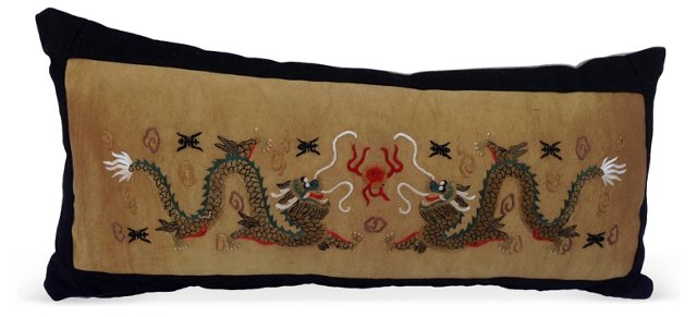 Embroidered Dragons Silk Pillow