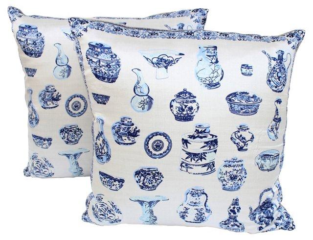 Blue & White Porcelain Scarf Pillows