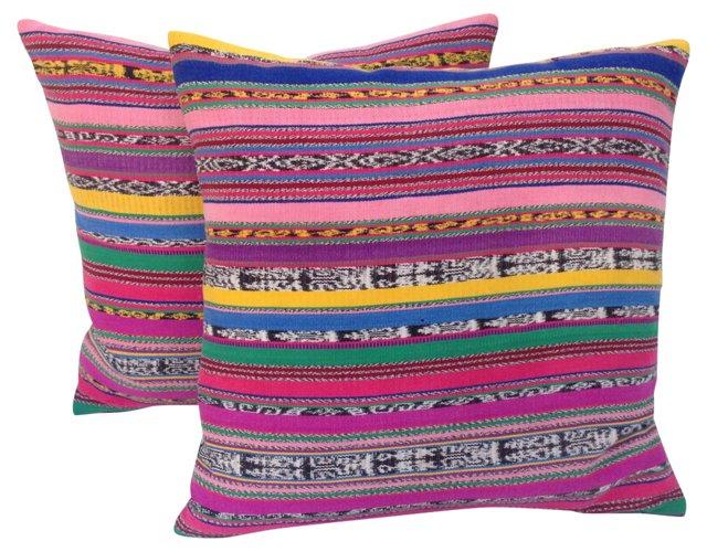 Striped Ikat   Pillows,  Pair