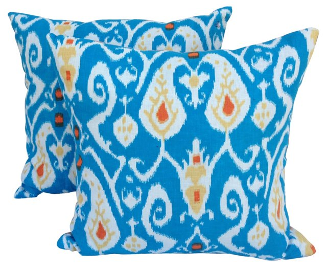 Turquoise Ikat Pillows,  Pair