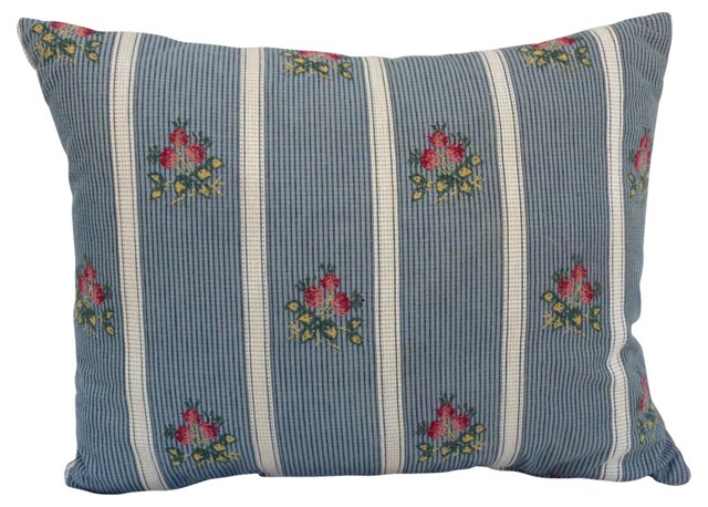 Embroidered  French Roses Pillow
