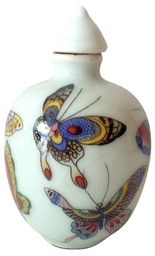 Hand-Painted Butterfly Porcelain  Bottle