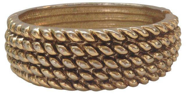 1960s Goldtone Rope Clamper Bracelet