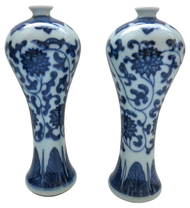 Blue   & White Chinese    Vases, Pair